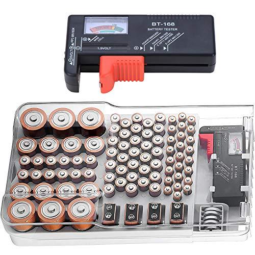 Kyrio Batterie-Organizer Master, Wandhalterung, Batterie-Aufbewahrungsbehälter, Batterie-Caddy mit Batterietester für 93 Batterien für AA, AAA, C, D, 9 V und Batterieplatte