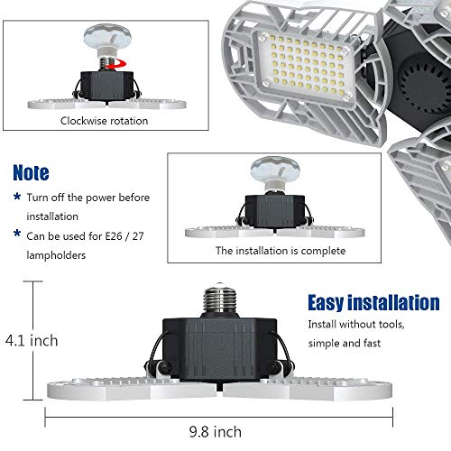 LED Garage Lights E26/E27 60W Panels Adjustable Trilights Garage Lights 6000lm Ceiling Light for Workshop Warehouse (No Motion Activate) 7