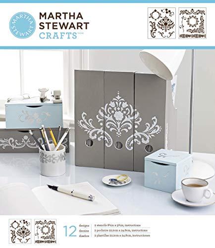 Martha Stewart Medium Stencils 2 Sheets/Pkg-Flourish 8.75'X9.75' 12 Designs