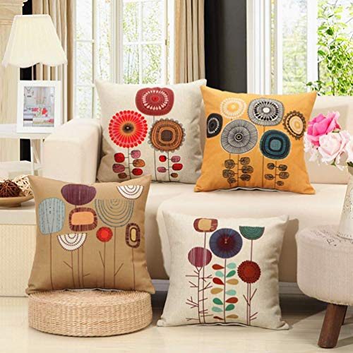 Unibedding Decorative Farmhouse Throw Pillow Coversfor Couch Sofa 18 x 18 Inch Set of 4, Yellow Sunflower Floral Abstract Linen Soft Solid Square Cushion Cover Cases Home Decor Flowers Pillowcase