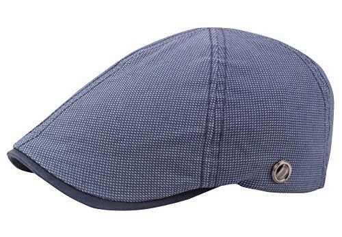 AIEOE - Boinas Gorro Plano Hombre Verano Primavera Vintage Ocio Sombrero de Sol Casual de Algodón Hat Flat con Visera Ajustble para Mujer Unisex - Azul