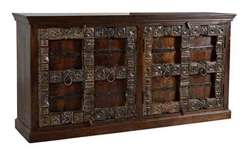 SIT-Möbel Almirah 5113-30 koloniales Sideboard, vier Türen, recyceltes Holz, Metallapplikationen, 180x45x90 cm