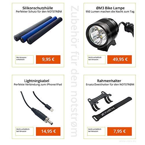 ZNEX NOTSTRØM™ | Wasserdichte IP67 Power Bank mit Rahmenhalter fürs Fahrrad, Rennrad, MTB, Trekkingrad zum Laden von iPhone Handy GPS GoPro USB Bike Lampe | 10000mAh/2.4A - 7