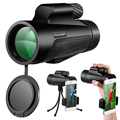 Monocular Telescope 12x50 High Power Scope with Phone Mount and Tripod Compact Scope with BAK4 Prism FMC for Adults Hunting Camping Travelling Wildlife