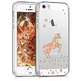 kwmobile Apple iPhone SE / 5 / 5S Hülle - Handyhülle für Apple iPhone SE / 5 / 5S - Handy Case in Einhorn Design Rosegold Transparent