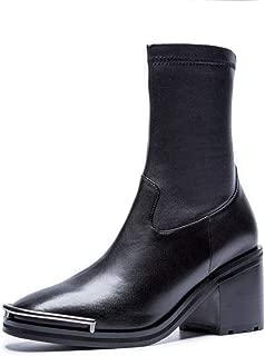 Nine Seven Genuine Leather Women's Square Toe Chunky Mid Heel Side Zipper Handmade Comfort Dress Ankle Boots