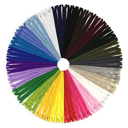 DOITEM 72pcs 40cm / 16 pulgadas cremalleras de nylon multicolor de la bobina para coser y artes 24 colores