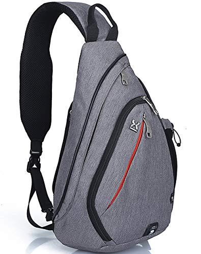 HASAGEI Sport Rucksack Schultertasche Sling Bag Herren und Damen Crossbag Brust Tasche für Wandern Camping Schule (Grau)