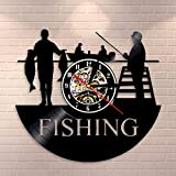 Fisherman Lake Scene Home Decor Mute Cuarzo Reloj de Pared Pesca Vinilo Record Reloj Pesca Retro Reloj Pescador Regalos Para Hombres