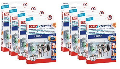tesa Powerstrips (Large, Doppelseitige Klebestreifen zur Montage von Gegenständen auf glatten Oberflächen, bis zu 2 kg Halteleistung) 8 Packungen