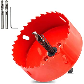 """Hordion 90mm/3 1/2"""" Hole Saw Bi-Metal Saw Drilling Tool with Twist Drill Bit & L Hex Wrench for Cornhole Boards Wood Plasterboard Plywood Plastic"""