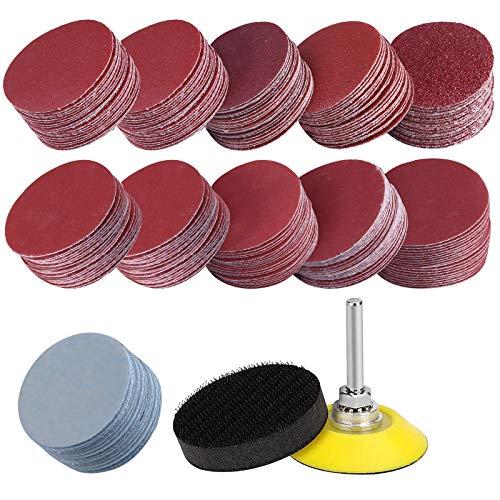 2 Zoll 200 Teiliges Schleifscheiben Pad Kit für Bohrschleifer Rotationswerkzeuge, Klett-Schleifpapierscheiben mit 1/4 Zoll Trägerplattenschaft und weichem Schaumstoff Polierpad (Körnung 80-3000)