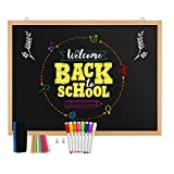 Magnetic Chalkboard, Blackboard, Real Natural Wood Frame Wall Chalkboard, 24 x 18' Come with 1 Magnetic Eraser, 7 Chalks, 2 Magnet Pins, 8 Chalk Markers, Great for Kids, Restaurant, Home Decor.