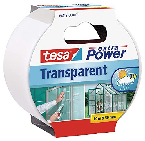 Tesa 56349-00000-03 Cinta Adhesiva Transparente Extra Power - Cinta De Reparación Transparente Impermeable Para Exteriores, 10 Mx 50 Mm
