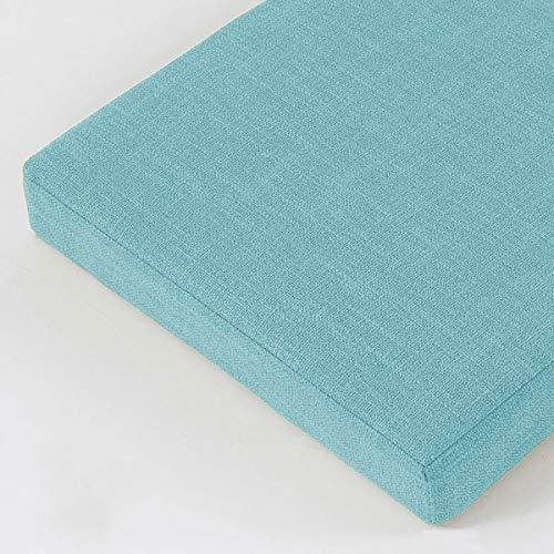 BoruisX Cojín de banco de 8 cm, 2 cojines largos de 3 plazas, cojín de banco de 100/120/150 cm, cojín de asiento para interior o exterior, columpio de jardín (120 x 30 x 8 cm, azul claro)