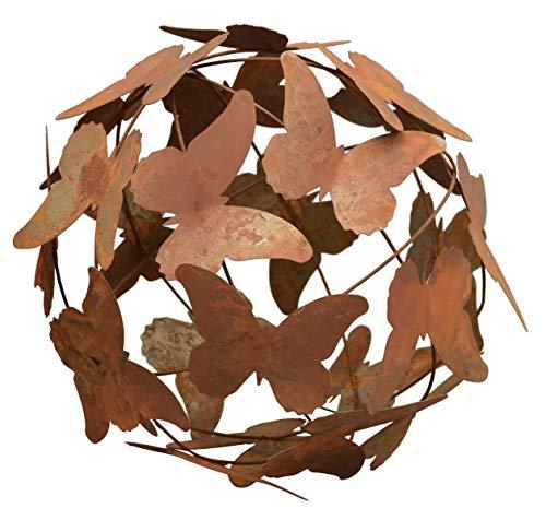 ETC dekorative ausgefallene Deko-Kugel Garten-Kugel Schmetterling Metall rostig in 24 oder 29 cm Durchmesser (Metall rostig, groß ca. 29 cm dm)