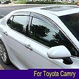 Vesul Smoke Gray Side Window Visor Vent Rain Guard Wind Deflectors Shield Sun Shade Compatible with Toyota Camry 2018 2019 2020