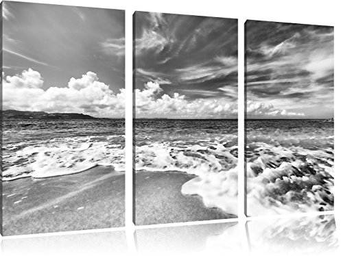 Pixxprint Sand Strand / 3-Teilig/Gesamtmaß 120cm Leinwandbild bespannt auf Holzrahmen/Wandbild Kunstdruck Dekoration