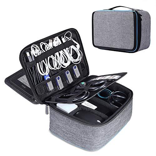 BERTASCHE Kabel Taschen Groß Kabeltasche mit 9,7 Zoll Tabletfach Reise Arbeit Uni Elektronik Zubehör Tasche, Grau/Blau