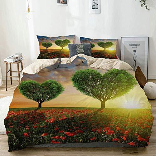 Juego de funda nórdica Beige, árboles en forma de corazón de amapola Sunset Cloudy Sky Rural Romantic Love Meadow, decorativo Juego de cama de 3 piezas con 2 fundas de almohada Fácil cuidado Anti-alér