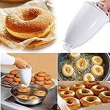 Happy Donut - Donut Maker - Donut Backform - Teigspender Edelstahl Pfannkuchen Teigspender für Donuts - für köstliche Mini Doughnuts - selbstgemachtes Dessert-DIY Werkzeug Küchengebäck (Weiß)