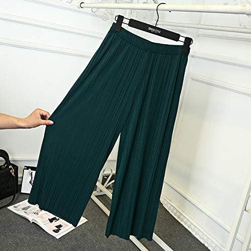 KTKZSS Eté Ride Femme Taille Haute Lâche Section Mince Large Gamme De Pantalons en Mousseline De Soie vert