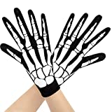 Guantes de Hueso de Esqueleto para Disfraces de Halloween, Accesorio de Guantes de Esqueleto, Accesorios de Halloween y Suministros para Fiestas de Disfraces de Baile de Halloween