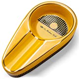 CIGARLOONG Cenicero de cigarros único clásico de cerámica para uso en exteriores o interiores (color amarillo)