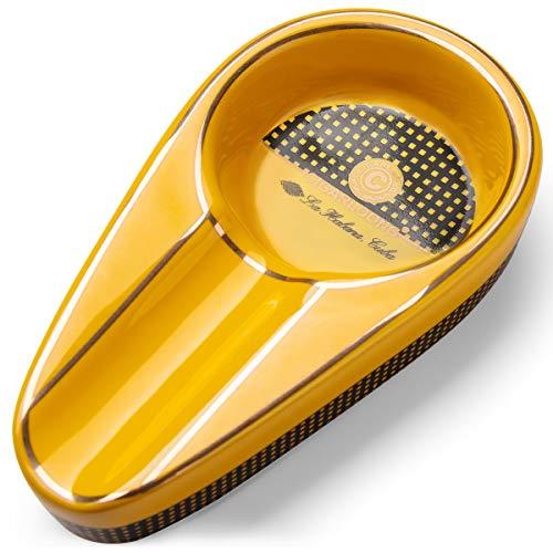 CIGARLOONG Zigarre Aschenbecher Single Classic Ceramic Aschenbecher Außen- oder Innenbereich(Kolorit:Yellow)