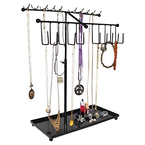BELLE VOUS Soportes para Joyas - (42x29cm) Soporte Expositor de Joyas Metal con Bandeja Almacenamiento y 30 Ganchos - Ajustable Organizador Colgante para Collares, Pendientes, Relojes (Negro)