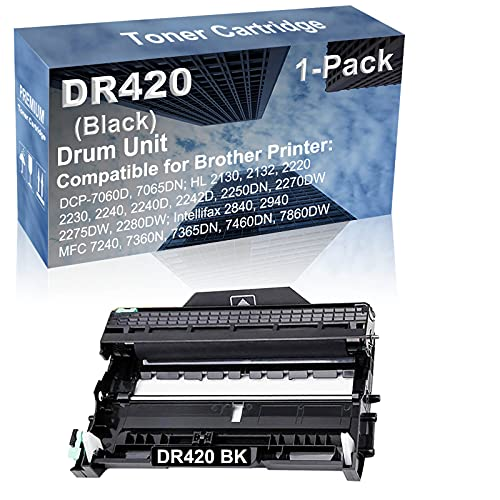 1-Pack Compatible Drum Unit (Black) Replacement for Brother DR420 DR-420 Drum Kit use for Brother Intellifax-2840, Intellifax-2940; MFC-7240, MFC-7360N, MFC-7365DN, MFC-7460DN, MFC-7860DW Printer