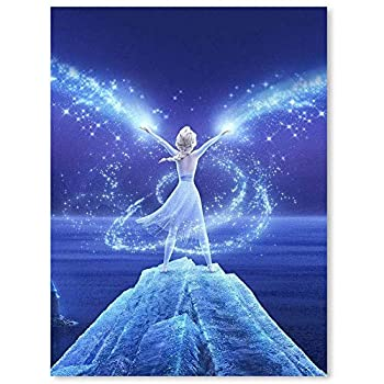 Histivich Canvas Prints Wall Mural Frozen Anime Music Fantasy Movie Snow Queen Elsa Posters Room Home Decor 17x23inch