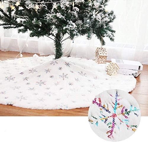 WREWING Christmas Tree Skirt, Round Tree Skirt mit Snowflake Sequin Stickerei Dekor Plüsch Weihnachtsbaum Rock 35.4 Zoll White Tree Skirts, Special for Christmas Holiday Festive Decor