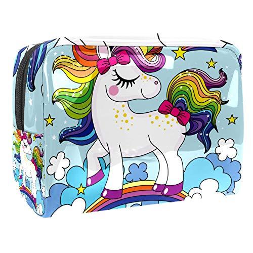Neceser de Maquillaje Estuche Escolar para Cosméticos Bolsa de Aseo Grande Unicornio Lindo con el Pelo Colorido del Arco Iris