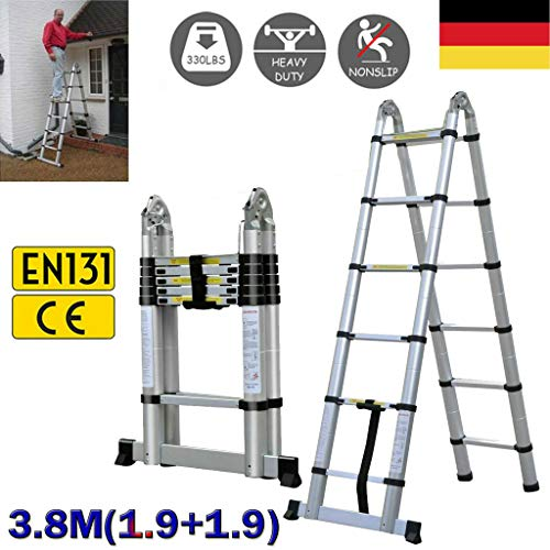 1.9M 12.5FT Heavy-Duty Aluminum Telescopic A Frame Ladder for Household and Painting Multi-Purpose Portable Extension Folding Ladder Max Weight 330lbs