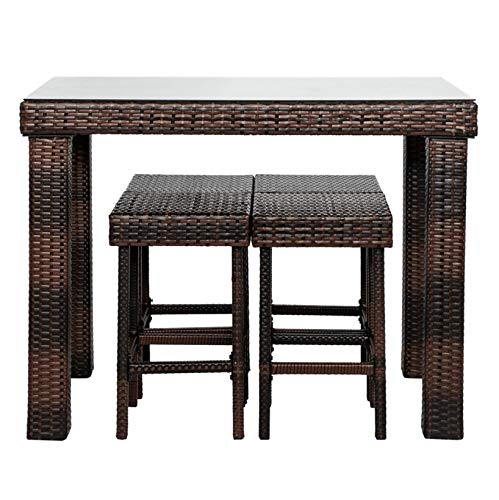 Dining Furniture; Outdoor Stylish Chairs Conversation Set-Bar Stool Chair&End Table Table;for Living Room Patio Pool Backyard;Set of 5;Brown Gradient