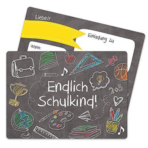 13 Einladungskarten zur Einschulung - Einladung mit Tafel-Motiv zum Schulbeginn - Schulstart Erstklässler Erste Klasse - Ich werde Schulkind