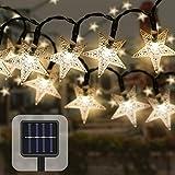 50 LED Guirnaldas Luces Exterior Solar,23ft Impermeable Navidad Cadena de Luces,Estrellas Luces de Hadas Decoración para Jardin Fiesta Casa Bodas (amarillo)