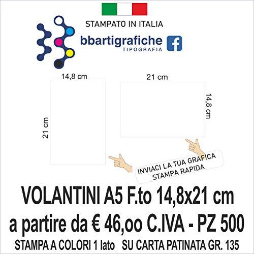 VOLANTINI A5 PERSONALIZZATI STAMPA FRONTE A COLORI (500)