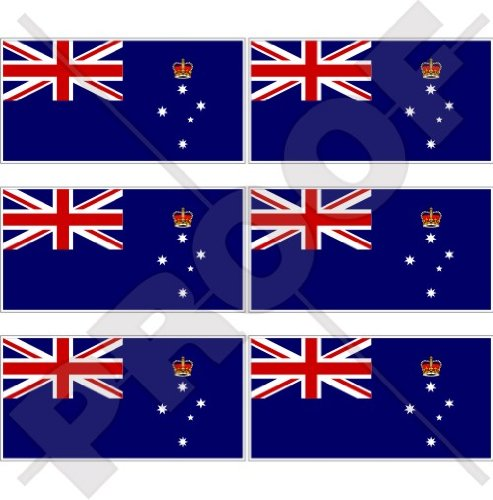 Lot de 6 mini autocollants en vinyle pour téléphone portable Motif drapeau de l'État de l'Australie 40 mm