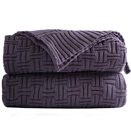 Shaddock - Manta de punto de 100% algodón, manta de sofá, colcha de cama, sofá, sillón (gris)