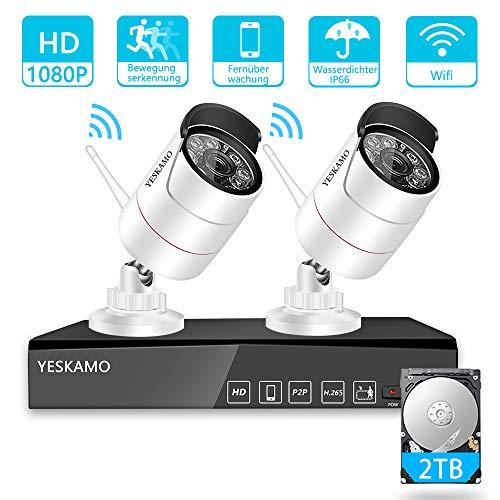 YESKMAO Funk Überwachungskamera Set Aussen Wlan mit 4 Kanal H.265 NVR Recorder und 2X1080P Wifi Überwachungskameras, Kabellos Videoüberwachung mit 2TB Festplatte, 30M Nachtsicht und Bewegungserkennung