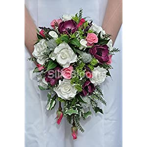 Romantic Plum Anemone Teadrop Bridal Bouquet w/ Pink and Ivory Roses and Green Seaholly Thistle