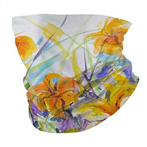 Antokos Dynamic Daylilies en acuarela Unisex reutilizable ajustable cara cubierta bufanda protección UV cuello pasamontañas 3d impreso variedad cabeza bufanda