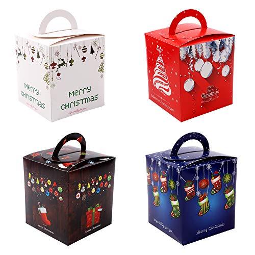 Frgasgds 12 Stück Weinachten Schachtel Weihnachten Geschenkbox Schachtel Xmas Geschenkbox Karton Plätzchen Kekse Schachtel für Weihnachten Geschenk Weihnachtsdeko Weihnachtsbaum Dekoration