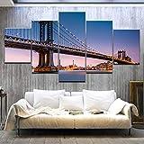 Hua jie lienzo imagen,arte de pared,cuadros de lienzo personalizados,para dormitorio,sala de estar puente de brooklyn sunset city night view