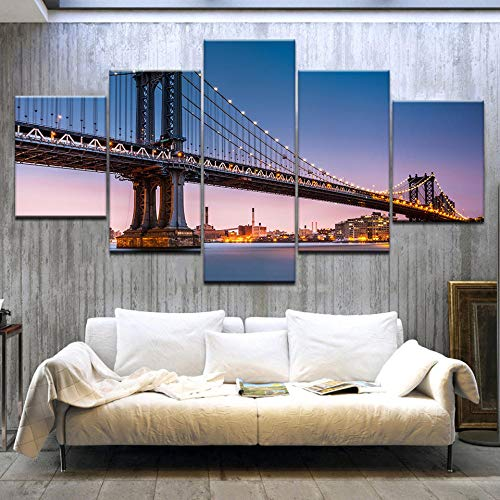 HUA JIE Lienzo Imagen,Arte de pared,Cuadros de lienzo personalizados,Para dormitorio,Sala de estar Puente de Brooklyn Sunset City Night View