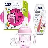 CHICCO beikost Start-Set–Juego infantil de iniciación Aprendizaje Juego platos térmica, Cucharita infantil (silicona, vaso calentadora con pitorro Super Soft Silicona, sin BPA)