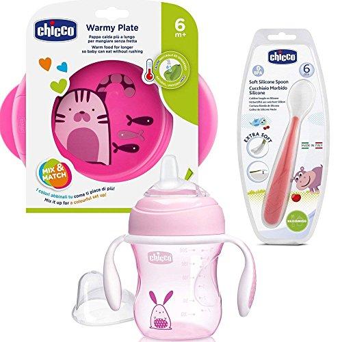 CHICCO - Set per imparare a mangiare, con piatto termico, mestolo in morbido silicone, bicchiere con beccuccio in silicone super morbido, senza BPA