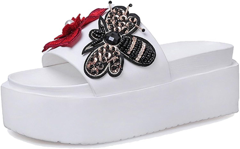 Kyle Walsh Pa Women Slippers Bee Flowers Slides Wedges Boho Beach Flip Flops Sandals shoes Black